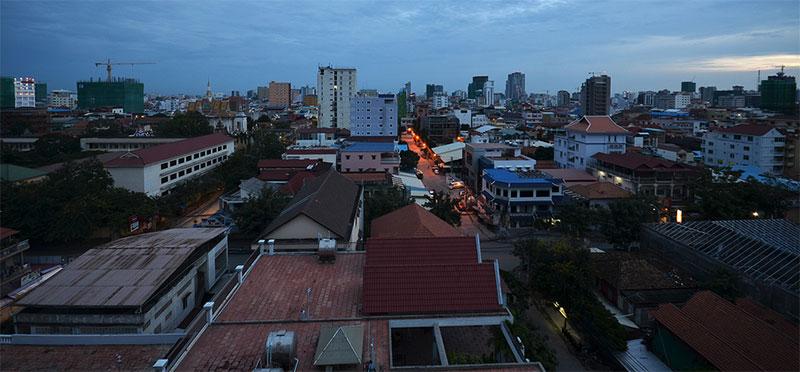 Phnom Penh skyline at dusk