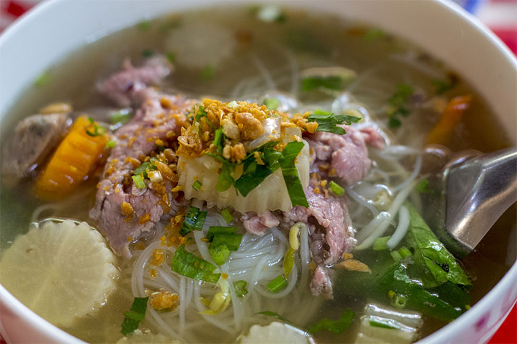 Khmer style beef noodle soup