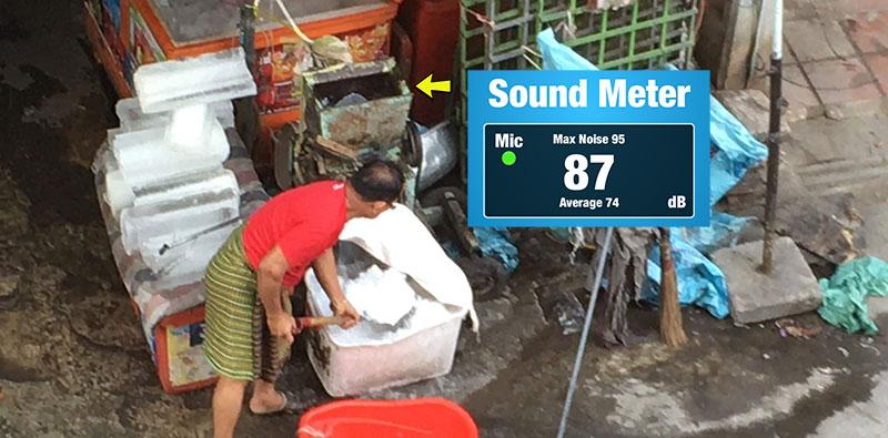 Ice grinder noise pollution Phnom Penh